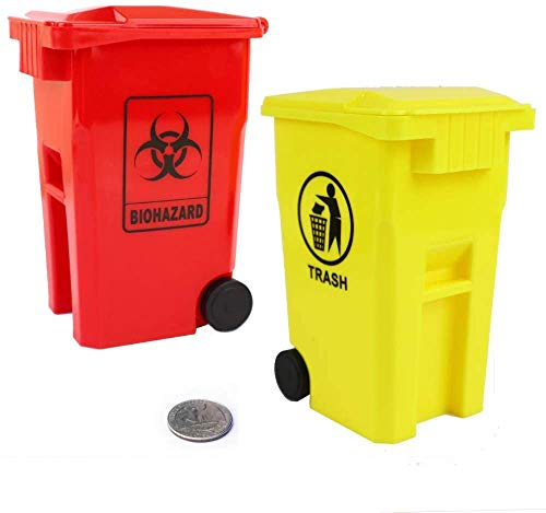 Mini Biohazard Containers Pen Holder and Unique Tiny Garbage Trash Can with Lid Pencil Cup Desktop Organizer Red Yellow 2-Pack