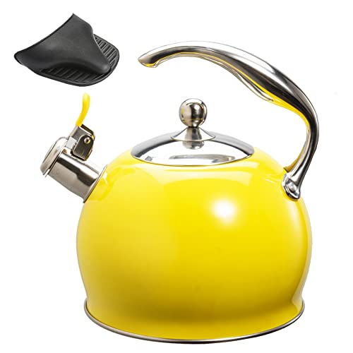 Sotya Tea Kettle Best 3 Liter induction Modern Stainless Steel Surgical Whistling Teapot -Tea Pot For Stove Top (Bright yellow)