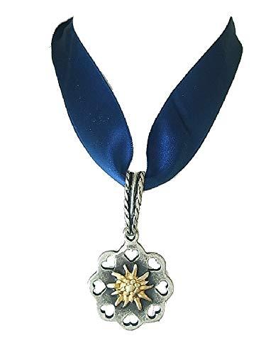 Kette Halskette Edelweiss Trachten Satin Halsband Dunkel Blau mit silbernem Edelweissanhänger