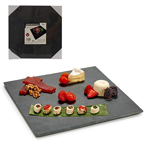Plato Llano de Pizarra Natural – Bandeja cuadrada de Pizarra Negra 30X30 cm, Aperitivos, Tapas, Sushi, Tablas Rectangulares de Piedra para servir comida (Pack de 2)