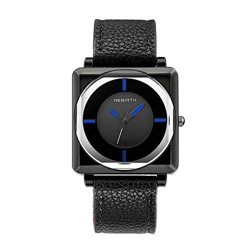 Zwbfu Renacimiento Relojes Cuadrados para Mujer Relojes de Cuero contratados Reloj de Cuarzo Negro