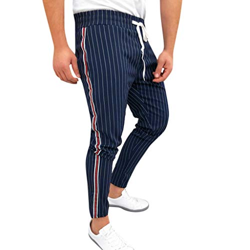 Lowest Price! Mens Striped Long Pants Casual Joggers Patchwork Drawstring Skinny Stretch Sweatpants Trousers (L, Navy)