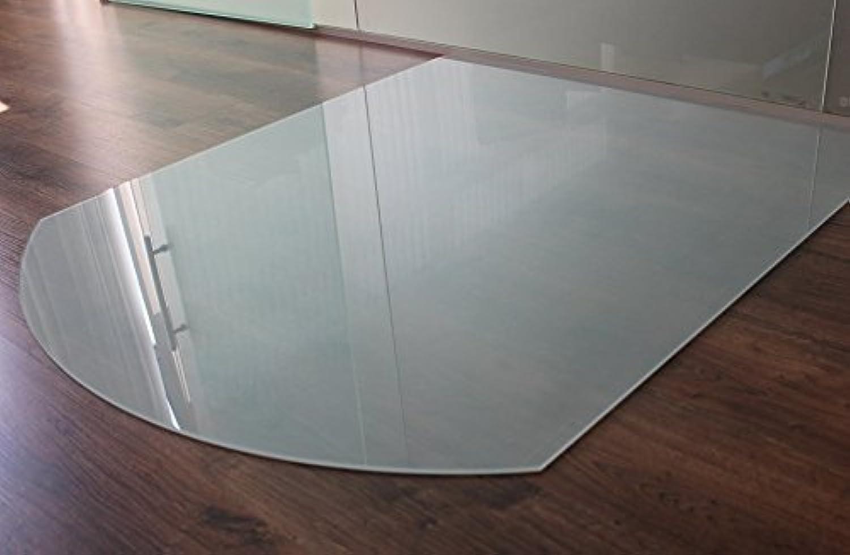 Milchglas Glasbodenplatte Funkenschutzplatte Kaminplatte Glas Ofen Platte Bodenplatte Kaminofenplatte Unterlage (Milchglas Segmentbogen 85x110cm [SB85 110])