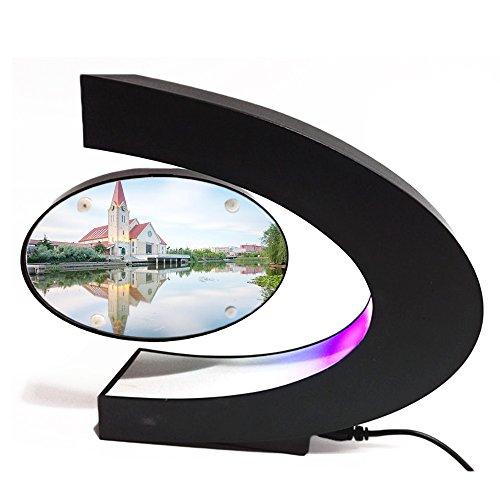 Gosear Levitación magnética Foto Flotante Marco de visualización con LED C Forma Base para decoración de Escritorio Regalo de cumpleaños de la Boda de Navidad Enchufe de la UE