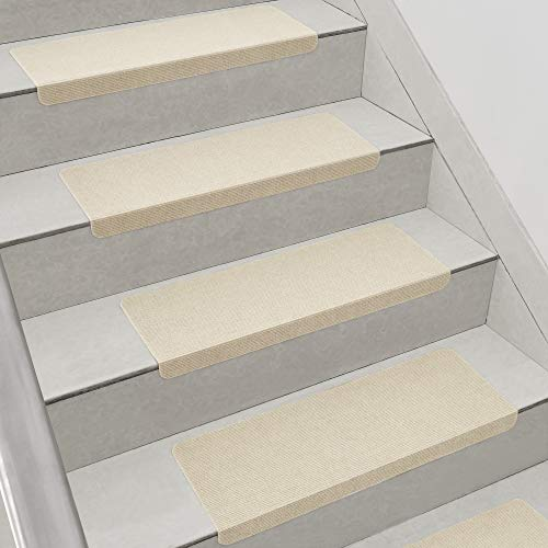 [en.casa] Stufenmatten im 15er Set Beige Eckig Schalldämmend Treppenmatten rutschfest Treppenteppich Treppenschoner