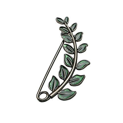 Shinywear Vintage Green Leaf Brooch Pins for Women Crafts Scarf Cardigan Shawl Buckle Hat Sweater Decorative Safety Pin Brooch (Nickle)