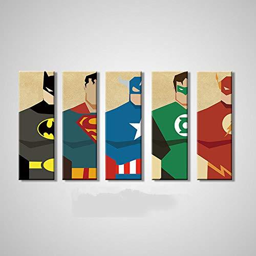WSHIYI Superman Canvas Painting 5 Piezas Superhero Modern Home Wall Decor Canvas Art HD Print Wall Pictures para niños Dormitorio-20x60cmx5pcs sin Marco