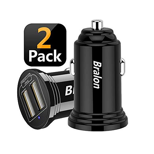 USB Car Charger,Bralon 2-Pack 18W 3.4A Mini 2 USB Fast Car Charger Adapter Compatible with Iphone 11,11 Pro(Max) Xs Max X 8 7 6,HTC,LG,Moto,Galaxy Note S10 S9 S8 S7 S6 Edge, iPad Pro/Air/mini and More