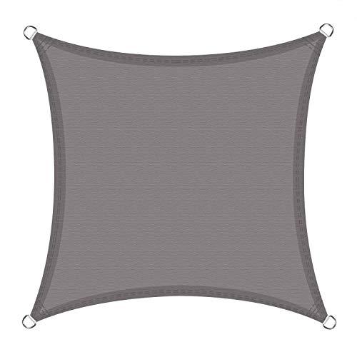 Nologo Parasol rectangular triángulo 95% UV y resistente al viento, con más de 5 años de experiencia, color gris, 4x4m