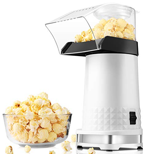 Homdox Popcorn Machine 1200W Hot Air Popcorn Maker Electric Popcorn Maker No Oil Popcorn Popper with Removable Measuring Cup for Home, BPA-Free, 2021 Upgraded Version(White)