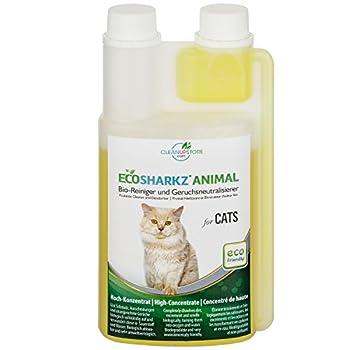Ecosharkz Produit Nettoyant et Eliminateur d'odeur Bio pour Chats Animal - Spray désodorisant Anti Urine pour intérieurs avec Chat et litière - Concentré de 500ml - jusqu'à 25L de Solution nettoyante