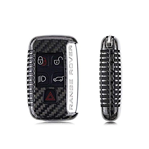 Kwak's - Custodia per chiave auto compatibile con Jaguar XE XP XJ Land Rover Range Rover Discovery Sport Aurora, in fibra di carbonio, per chiave auto (nero)