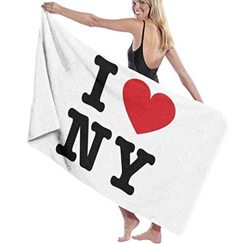 Beach Towel,Soft Super Absorbent Lightweight Bath Towel Flag I Love Ny Bath Towel Adult Soft Microfiber Printed Beach Towels Travel Towel Bath Towels Suitable For Children And Adults130*80cm