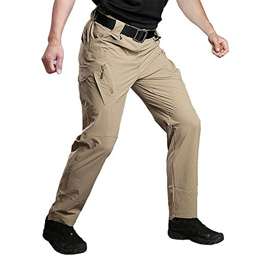 Susclude Men's Outdoor Work Quick Dry Military Tactical Pants Hiking Pants Mens Lightweight Cargo Pants Khaki 34