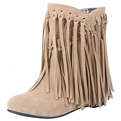 PIXIEFOOT Damen Flache Stiefeletten mit Fransen Ankle Boots Knöchelstiefel Stiefel Ohne Reißverschluss Niedriger Absatz Kurzstiefel