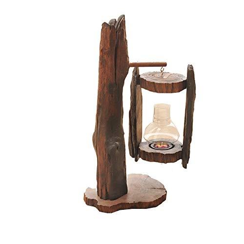 Awningcranks Kerzenständer kerzenhalter Holz-Kerzenständer Vintage Glas-alte Retro-windundurchlässiges Wind Lampe Kerze Laterne Candelabra Dekor Bougeoir Home Decoration