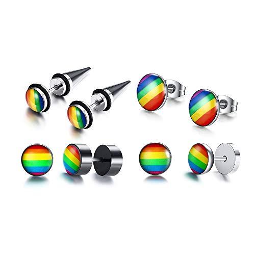 VNOX 4 Pairs Gay Lesbian Pride Rainbow Ear Round Hoop Stud Earring for Gay & Lesbian Pride,Styel 1