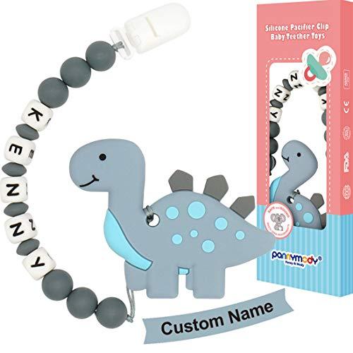 Panny & Mody Cadena Para Chupetes Personalizado Para Bebe con Nombre Silicona Clips de Chupete Soothie Clip Dinosaurio Mordedor (Gris)