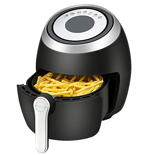 Kismile 3.8 Quart Air Fryer Electric Hot Air Fryer,1500 Watts Healthy Oil-Free Cooker with LCD Digital Panel,Time/Temp Touch control and Recipe Book (3.8QT+7Presets+Digital)