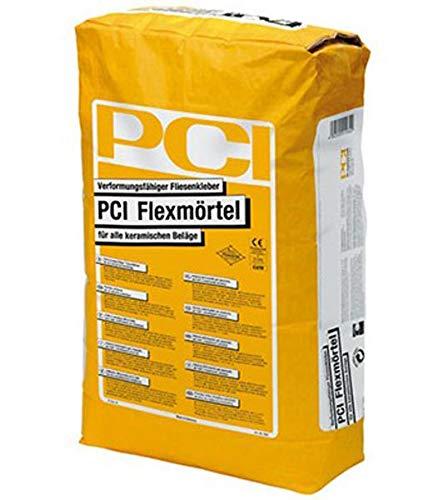 PCI FLEXMÖRTEL Fliesenkleber 5 kg - für innen, außen, Boden & Wand - Klebt verformungsfähig Fliesen und Platten