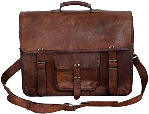 KPL 18 INCH Leather Briefcase Laptop Messenger Bag Satchel Office...