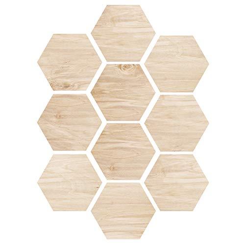 EXTSUD Adesivi per Pavimento Piastrelle a Esagono 10 Pezzi Stickers Disegno di Legno Autoadesivo Antiscivolo Impermeabile Adesivi Murali Decorazione per Parete Casa Floor Stile Acero