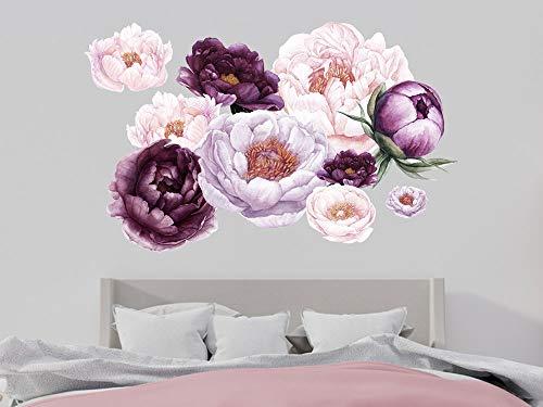 GRAZDesign Wandtattoo Blumen Pfingstrose Vintage - violett Blumenmuster Tapete Schlafzimmer Wandaufkleber über Sofa Bett Kommode/Blattgröße 150x60cm