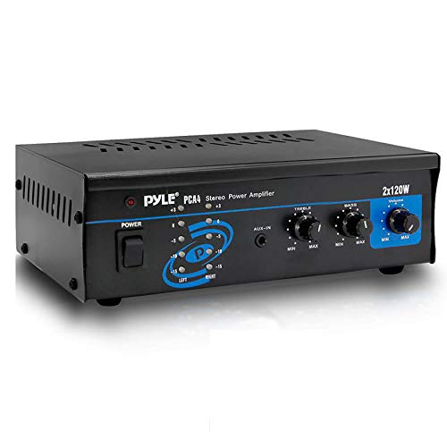Pyle 2x120 Watt Home Audio Speaker Power Amplifier - Portable Dual Channel Surround Sound Stereo Receiver - For Amplified Subwoofer Speakers, DVD, MP3, iPhone, Computer, Theater via 3.5mm RCA - PCA4 Black