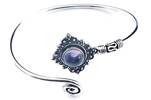 mantraroma Armreif Armband versilbert silbern Amethyst lila (922-05-022-01)