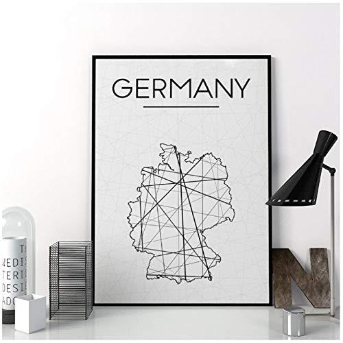 MULMF Deutschland Karte druckt wandkunst Poster abstrakte Karte Poster minimalistischen leinwand gemälde für Wohnzimmer dekoration-50x70 cm kein Rahmen