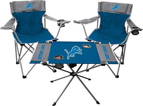 Rawlings NFL 3-Piece Tailgate Kit, 2 Gameday Elite Chairs and 1 Endzone Tailgate Table, Detroit Lions