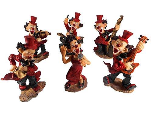 6er Set Clown Musik Karneval je 16 x 10 cm Harlekin Zirkus Figur Deko GTT C60