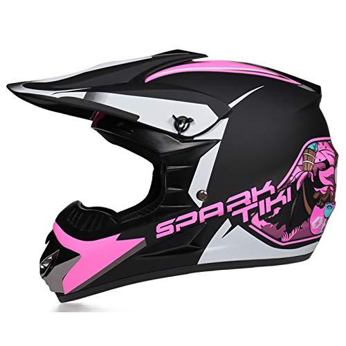 TR-yisheng Motocross-Helm mit Schutzbrille + Handschuhen + Maskenöffnungen,...