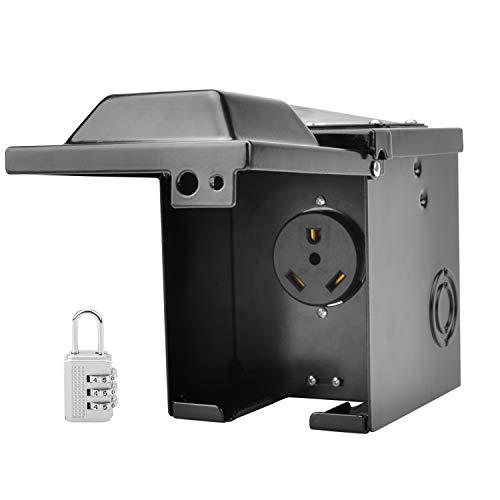 RVGUARD 30 Amp 125 Volt RV Power Outlet Box, Enclosed Lockable Weatherproof Outdoor Electrical NEMA TT-30R Receptacle Panel, ETL Listed