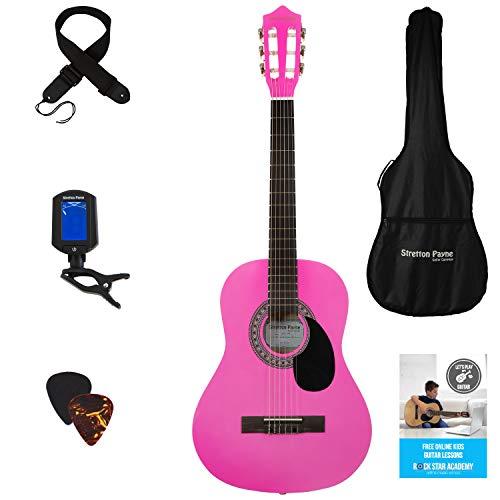 Akoestisch gitaarpakket 3/4 maat (36 inch) klassieke nylon snaren pak roze
