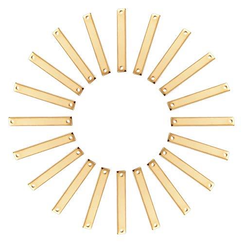 UNICRAFTALE 約20個 25mm タグチャーム ブランクタグ コネクタ 長方形 2つ穴 304ステンレス チャーム リンクコネクタ 長方形コネクタ 矩形リンク ゴールデン 金属チャーム ブレスレット パーツ ネックレスパーツ ジュエリー作り リン