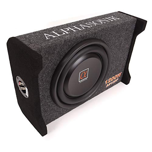 """Alphasonik AS10DF 10"""" 1200 Watts 4-Ohm Down Fire Shallow Mount Flat Enclosed Sub woofer for Tight Spaces in Cars and Trucks, Slim Thin Loaded Subwoofer Air Tight Sealed Bass Enclosure"""