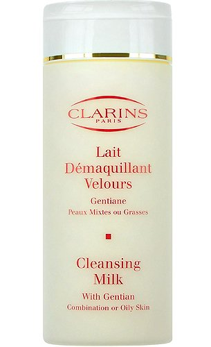 Clarins Reinigungsmilch mit Enzian/Lait Demaquillant Velours – Kombination zu fettiger Haut – 200 ml