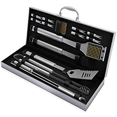 Home-Complete BBQ Grill Tool Set- Stainless Steel Barbecue Grilling Accessories Aluminum Storage Case