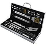 Home-Complete BBQ Grill Tool Set- 16 Piece Stainless Steel Barbecue Grilling Accessories with...