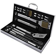 COMPLETE SET- This high quality set comes with everything needed for a successful cook out. Easily season steaks with the basting brush, flip hot dogs or burgers the spatula or tongs, eat corn with the corn holders or grill kabobs with the skewers. C...