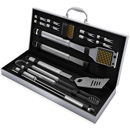 Home-Complete SYNCHKG054408 BBQ Accessories – 16PC Grill Set with Spatula, Tongs, Skewers, Case Barbecue Tools for Father's Day, Wedding, Anniversary, 16-Piece, Silver