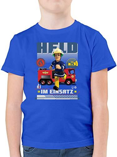 Feuerwehrmann Sam Jungen - Held im Einsatz - 104 (3/4 Jahre) - Royalblau - Kurzarm - F130K - Kinder Tshirts und T-Shirt für Jungen