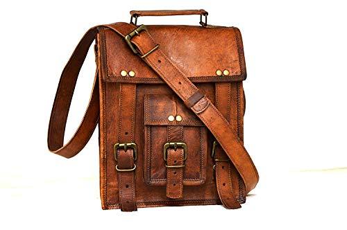 LBH Leather 11' Mens Leather Satchel Vintage Leather Messenger Bag Shoulder Bag for I Pad (9x3x11)