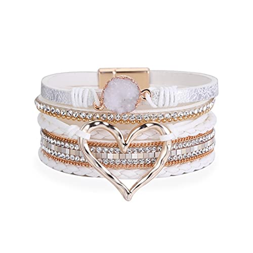FIISH Pulseras de Cuero Trenzadas a la Moda, brazaletes, Pulseras de corazón Hueco de Piedra de Resina Multicapa, Regalo de Mujer