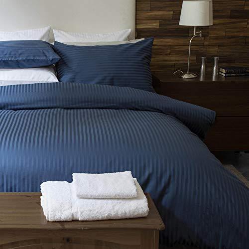 Belledorm - Housse de Couette Satin Stripe (Kingsize) (Bleu Marine)