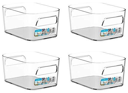 TIENDA EURASIA Cajas de Almacenaje con Asas - Organizadores de Plástico Multiusos - Ideales para baño, cocina, salón,...