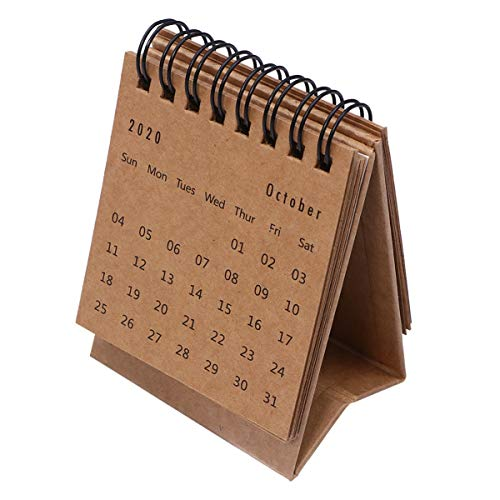 STOBOK 2021 Mini Calendario - Escritorio 2021 Calendarios de Mesa Plegables Calendario de Calendario de Color Sólido para El Hogar de La Oficina (2020. 7-2021. 12 Color de Papel Kraft)