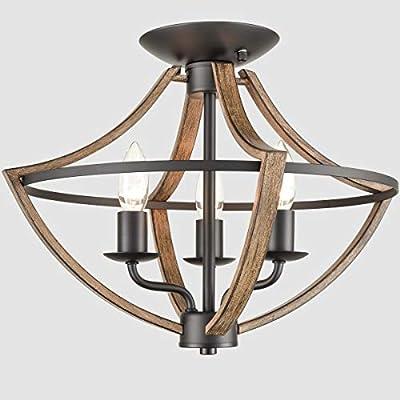 Industrial Ceiling Light Fixture Semi Flush Mount 3-Light Wood Grain and Black Finish Farmhouse Light Fixtures Ceiling