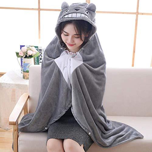 FUdeza Anime Chinchilla-Schal mit Kapuze, Plüsch-Spielzeug, Cosplay-Kostüm, Nickerchen, Korallen-Fleece-Decke für Heimdekoration - S